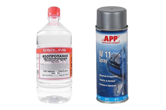 Изопропиловый спирт и вазелин (силикон)
